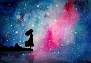 Watercolor painting of the girl pray to star for peaceful and ho