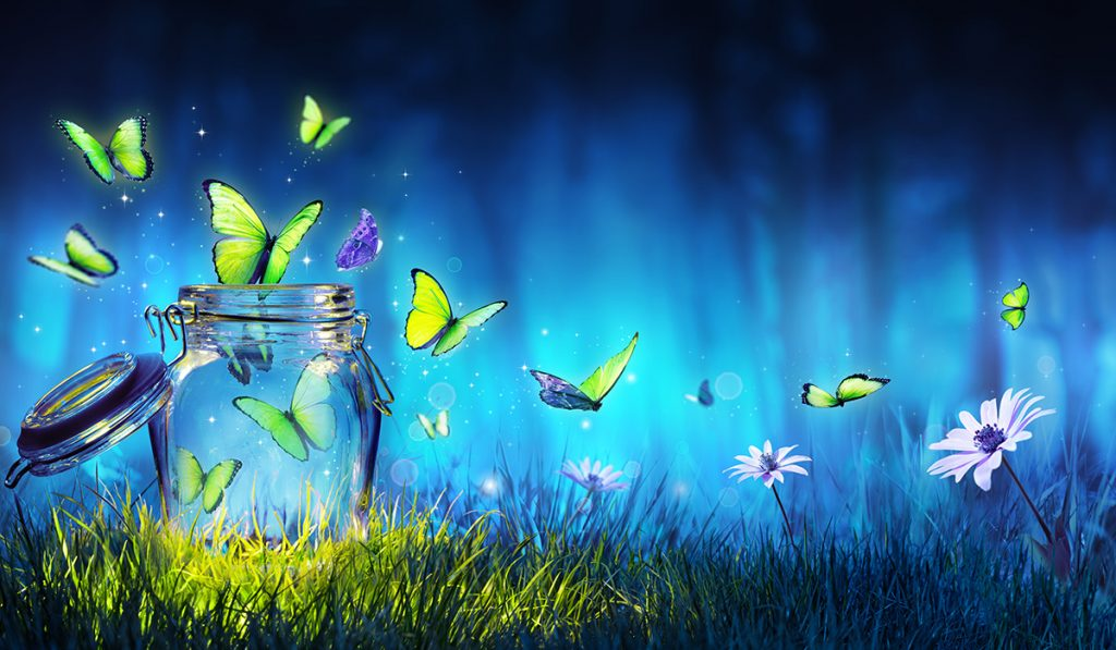 Freedom Concept - Magic Butterflies Flying Out Of The Jar On The