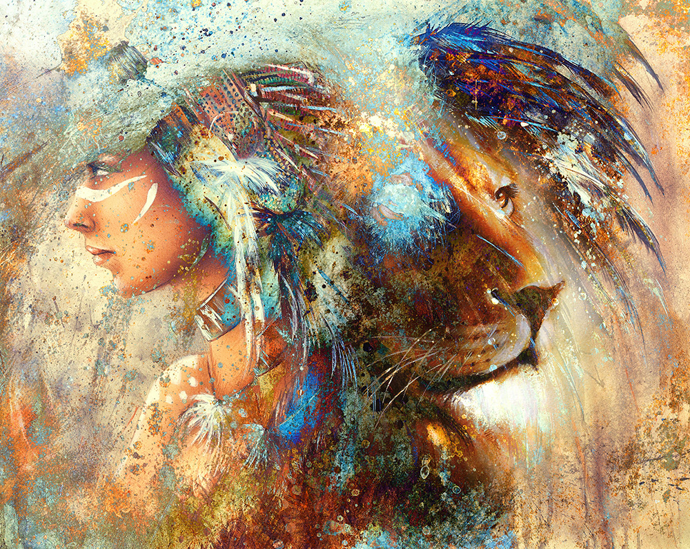 indian woman wearing feather headdress with lion